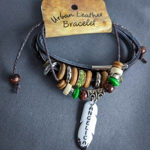Angelica Wrap Bracelet Brown Leather Braided